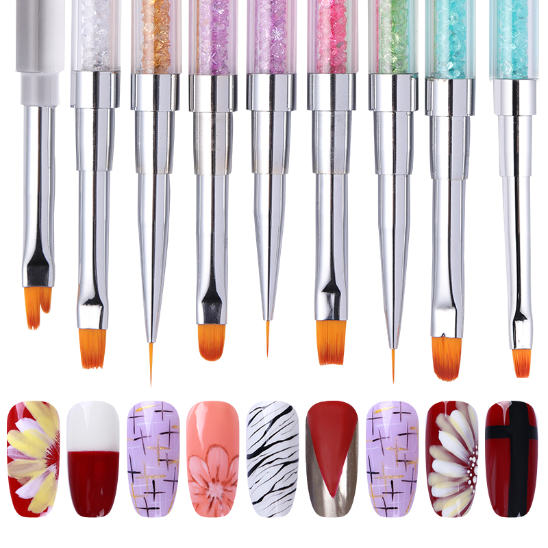 Dual-ended Nail Brush For Nail Art Tips Extension UV Gel Line Painting Pen Rhinestone Handle Nail Art Manicure Tools