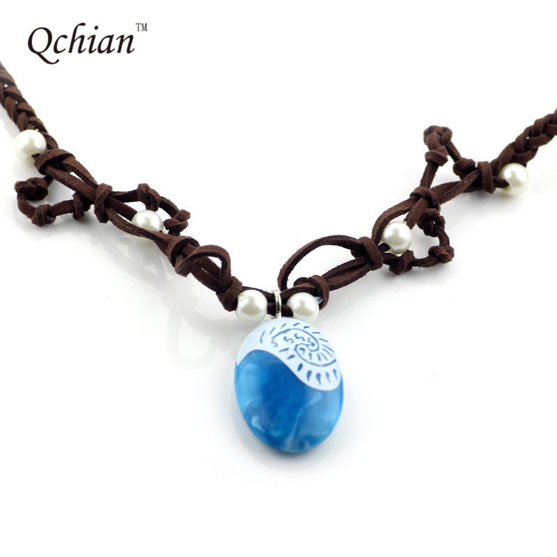 Costumes & Accessories Moana Ocean Romance Rope Chain Necklaces Blue Stone Necklaces Princess Necklace Key Ring Movie Figures Action Toys Gift
