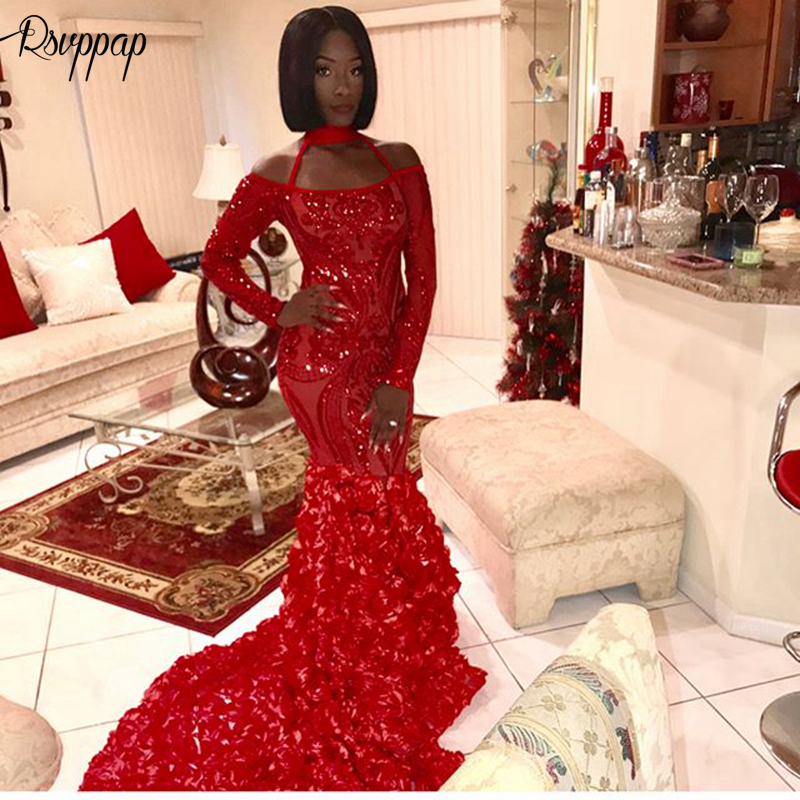 Sparkly Long Sleeve Mermaid Style Halter African Black Girl Red Sequin Women Long   Prom     Dresses   2019 With Flowers