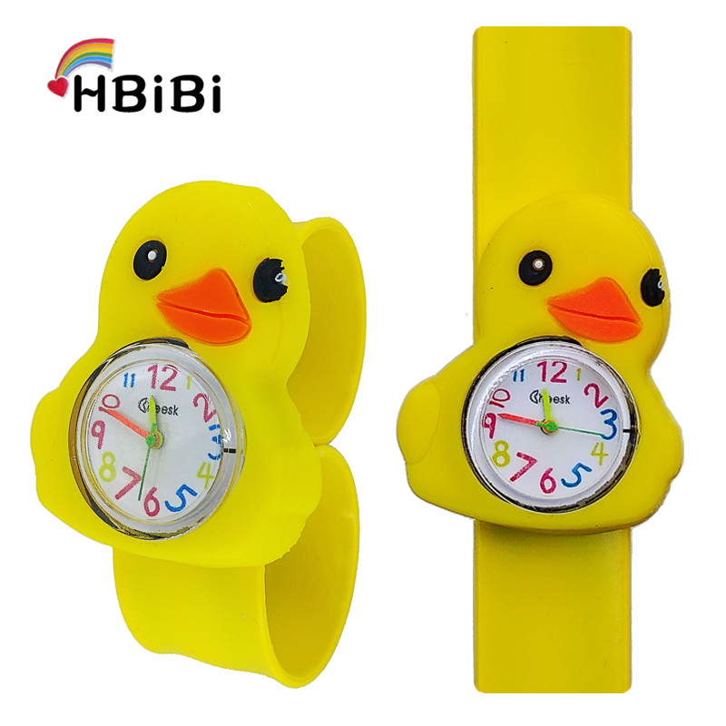 Hot Selling Children Watch For Boys Girls Students Clock Child Gift Cartoon Yellow Duck Silicone Tape Patted Table Kids Watches