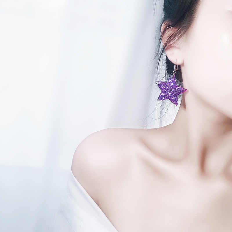 XZP Leuke Blingbling Glitter Hart Star Drop Danggle Oorbellen Fashion Shiny Koreaanse Pentagram Ster Liefde Oorbellen Voor Vrouwen Meisjes