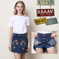 Vintage 2017 Summer Style Women Mini Skirts High Waist Sexy Womens Floral Embroidery Blue Single Breasted Denim Skirt P3572