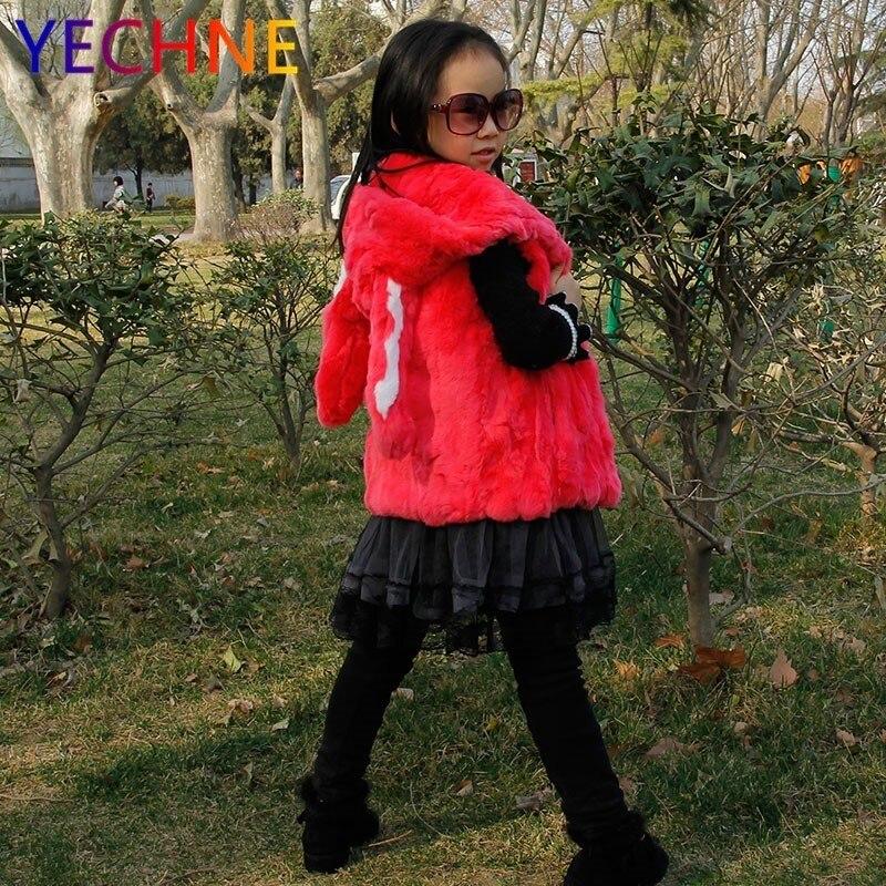 gray Fourrure Vêtements pink Cap Enfants Gilet Avec Nouveau Rex Lapin Red brown Oreille Enfant Veste De Véritable qtZ8gf