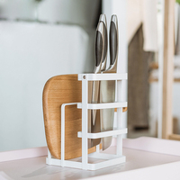 Metal Knife Block Cutting Board Chopper Holder Drying Rack Kitchen Storage Organizer Counter Display Stand