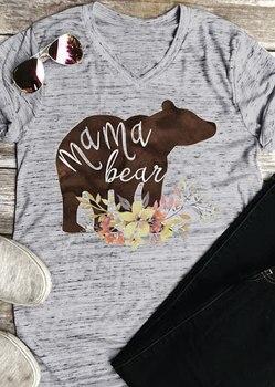2018 Mulheres Da Moda T-Shirt de Manga Curta Com Decote Em V Para As Mulheres Nova Mamãe Urso Letras Imprimir Casual Feminina Primavera Partes Superiores Das Senhoras Mãe tee