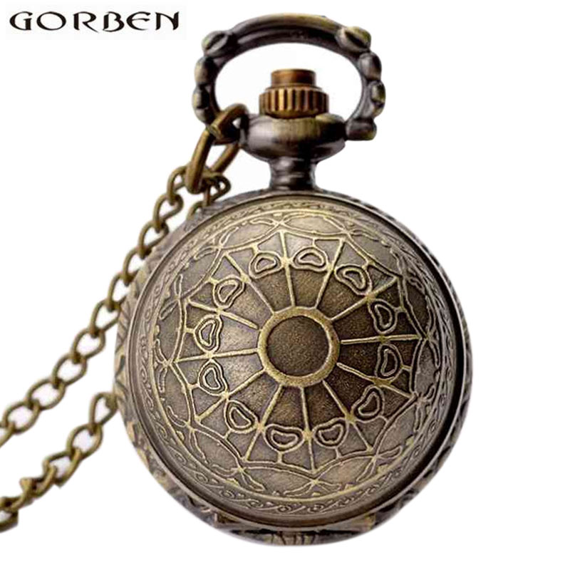Retro Clock Necklace Pocket Watch Vintage Snitch Gold Ball Silver Bronze Fob Chain Watch Men Women Relogio De Bolso