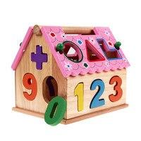 Nuovo Bambino Giocattoli In Legno Per Bambini Blocchi montessori Giocattoli Educativi Carino Smart House Giocattolo Per Il Bambino Bambini Newbron Brinquedos