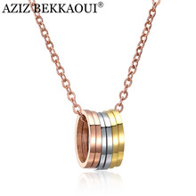 AZIZ BEKKAOUI 3 Colors Circle Necklace Fashion Rose Gold Stainless Steel Necklaces Choker Necklace Jewelry Best Gift(China)