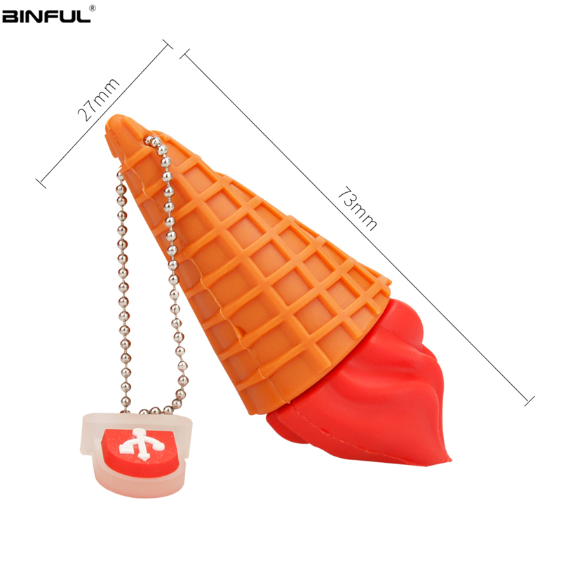 Image 3 - Usb Flash Drive Cartoon Ice Cream Cones Pen Drive 128GB 64GB 32GB Usb Stick 16GB 8GB 4G High Quality Cute Pendrive Free Shipping-in USB Flash Drives from Computer & Office