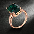 2017 Square Shape Emerald Ring Rose Gold Plated Fashion Red/Green Big Crystal Imitation Ruby Wedding Jewelry For Women