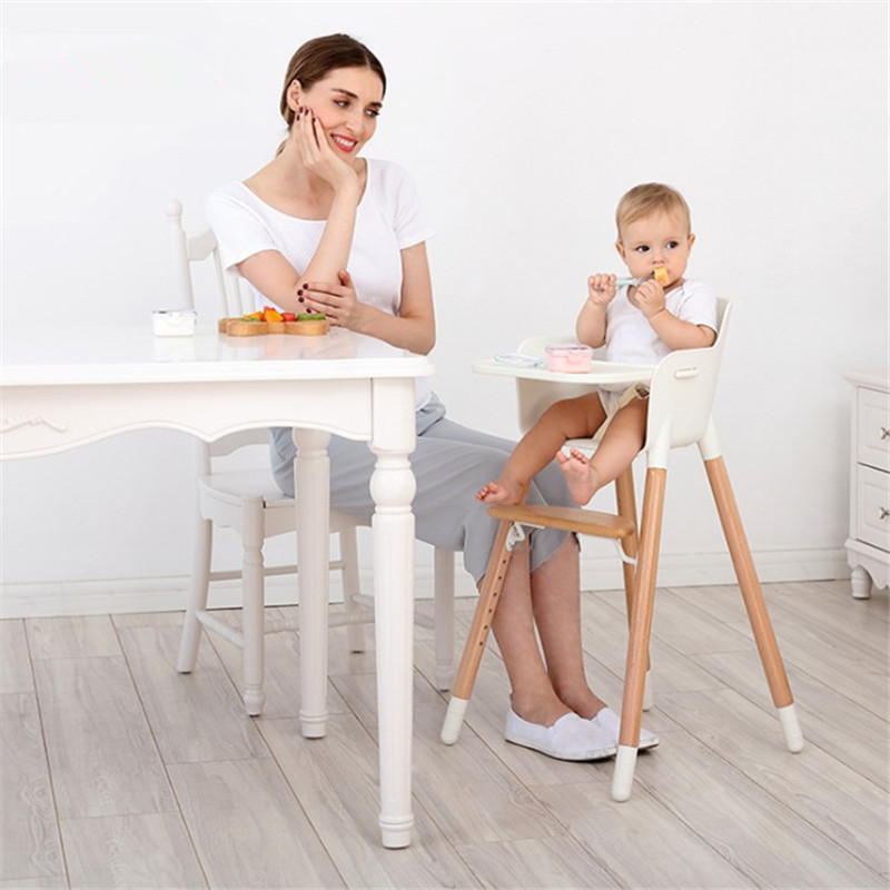 Solid Wood Chair for babies A Chair For Infant Feeding Adjustable Multifunction Foldable Baby Seat Kids Dining Highchair Covers baby highchair foldable high chair for kids adjustable feeding chair with pu leather cushion dining table with wheels