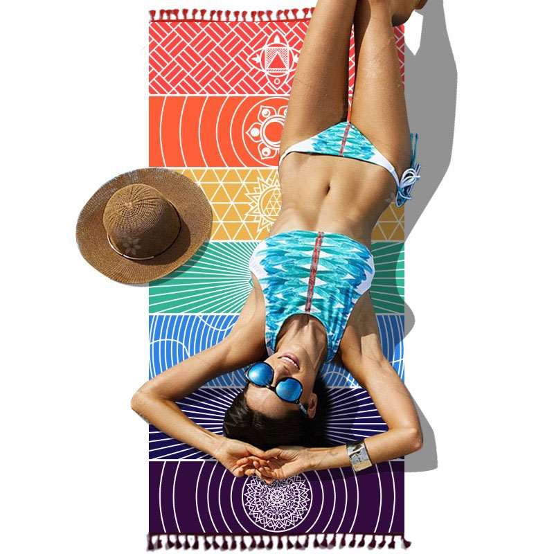 Dropship! Single Rainbow Chakra Tapestry Towel Carpet Mandala Boho Stripes Travel Yoga Mat Outdoor Mats 150x70cm/100x45cm 9