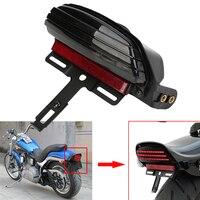 Motorcycle Tri Bar Fender LED License Plate Bracket Tail Light For Harley Softail FXST