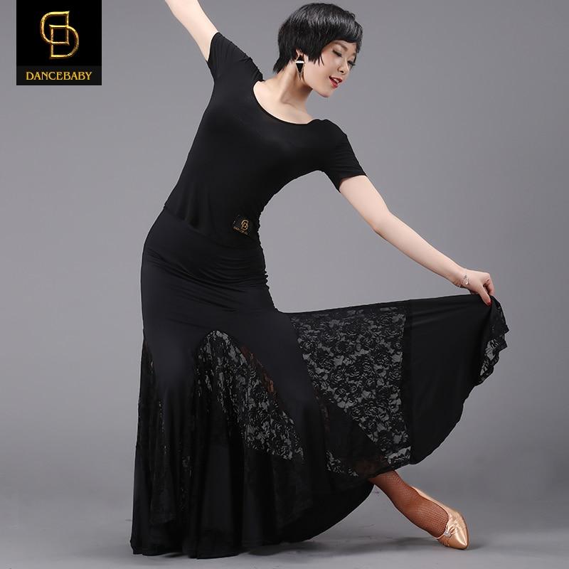 2018 Lycra Women Tango New Arrival Modern Skirt Lace Professional Design