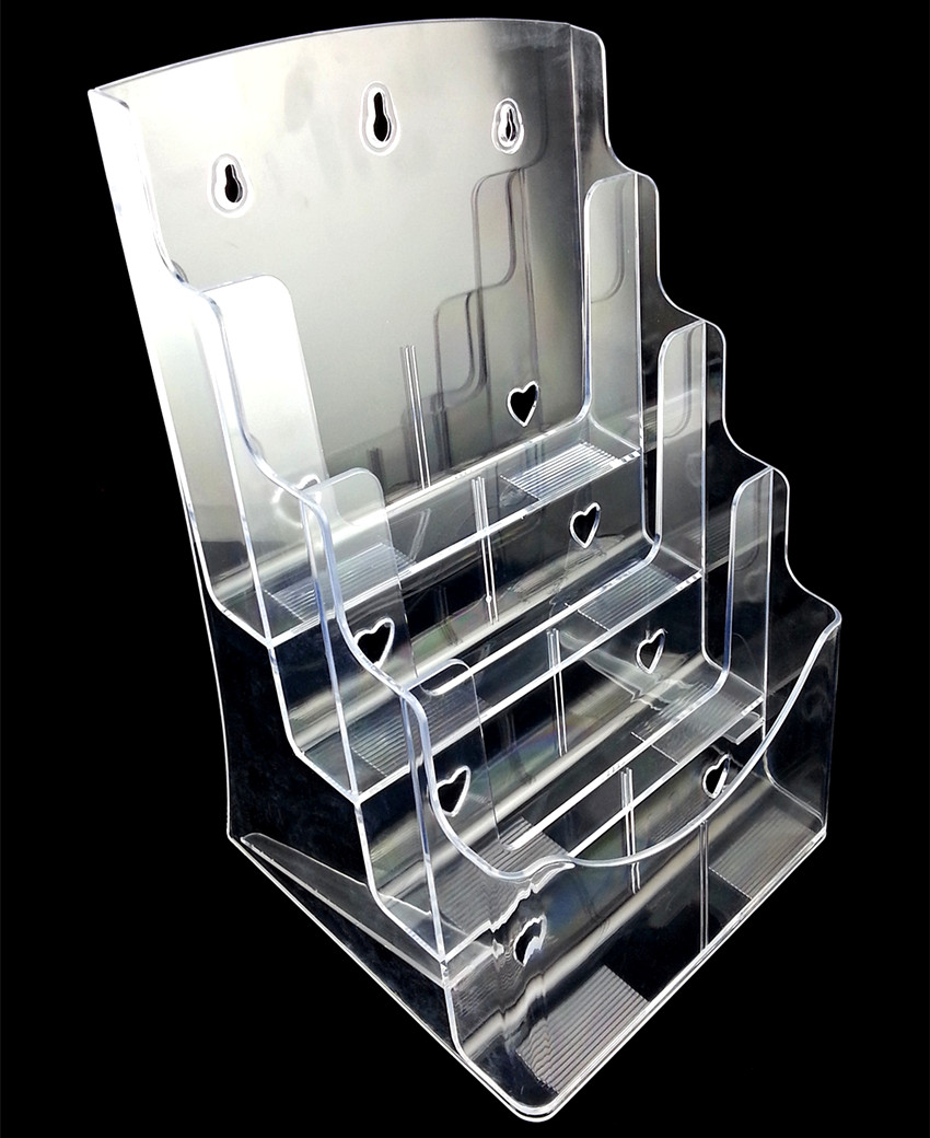 Plastic Acrylic Brochure Literature Clear A5 4 Tiers Pamphlet Display Holder Racks Stand To Insert Leaflet