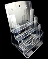 Free Shipping Clear A5 4 Tiers Plastic Acrylic Brochure Literature Pamphlet Display Holder Racks Stand To