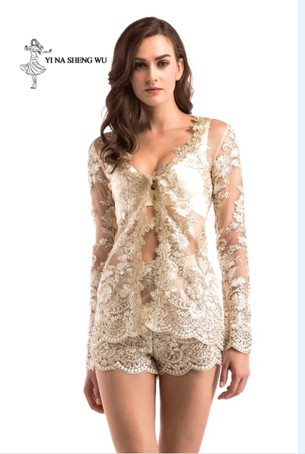 Women adult Translucent clothes 2-pieces set Jacket+short pant Sexy lady Party Nightclub High quality dinner Club Ballroom Dress 2