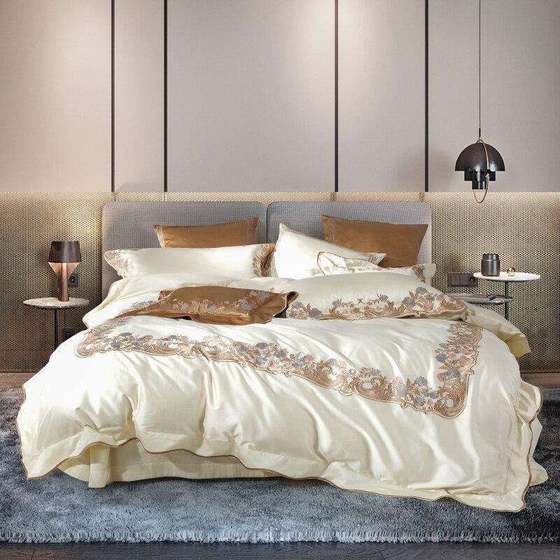 800TC Egyptian Cotton Premium Embroidery Duvet Cover Luxury Bedding Set 4/7Pcs Queen King Size Bed Sheet Set Pillow Shams