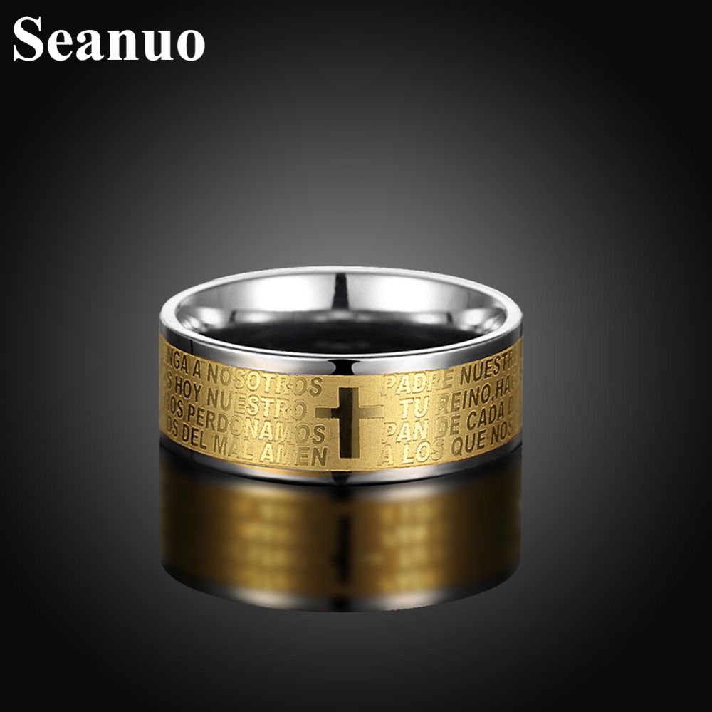 Seanuo Golden 8mm Wide Men Ring Jewelry Yellow Gold Color 316l Stainless  Steel Bible Letters Ring