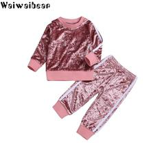цены Waiwaibear Baby Kids Girls Sets Kids Long-sleeved Top +Long Pants 2PCS Casual Sets Baby Outfits Clothing  Children Costume  ZT4