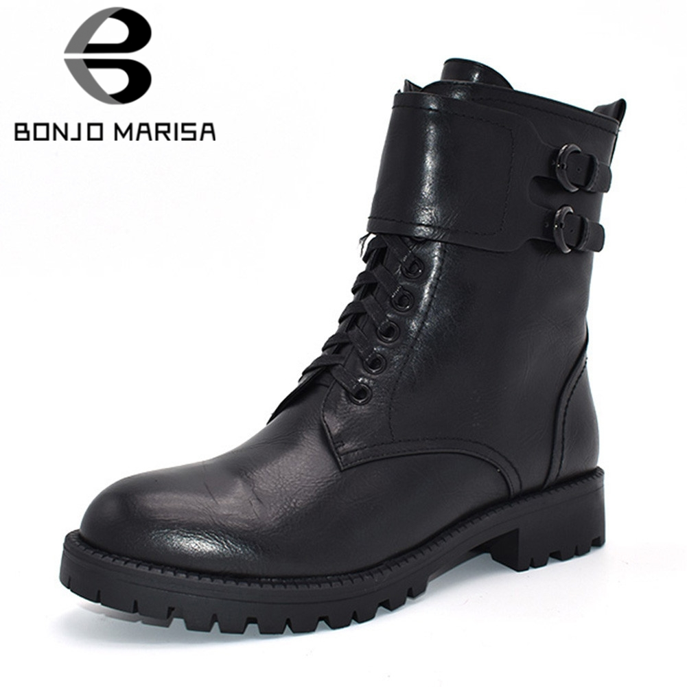 BONJOMARISA New Fashion  Boots Belt Buckle Zip Cross Tied Solid Shoes Woman Casual womens Winter Ankle BootsBONJOMARISA New Fashion  Boots Belt Buckle Zip Cross Tied Solid Shoes Woman Casual womens Winter Ankle Boots