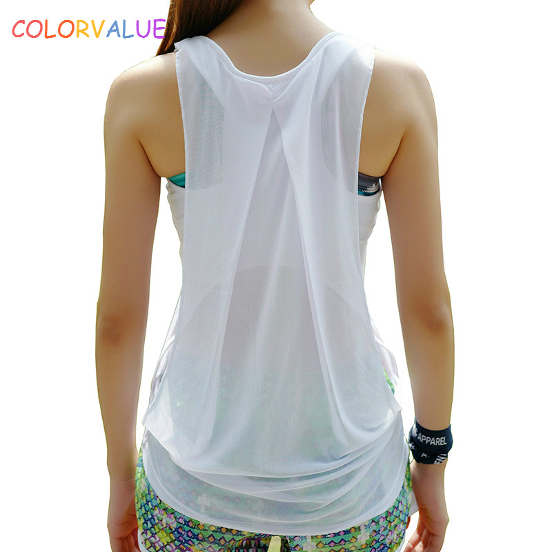 цена Colorvalue Back Patchwork Mesh Yoga Top Women Quick Dry Slim Sport Fitness Tank Tops O-neck Jogging Workout Vest Activewear