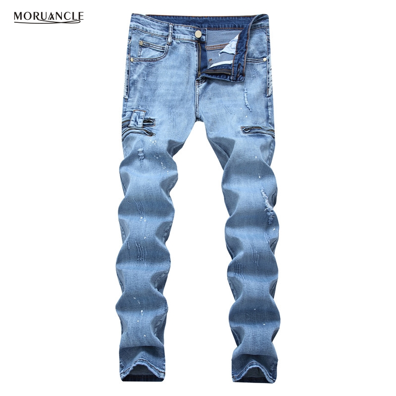 MORUANCLE New Men Ripped Jeans Pants Slim Fit Straight Distressed Denim Joggers Trousers Light Blue Multi Zipper Plus Size 28-42 бритва vitek vt 2374 bk чёрный