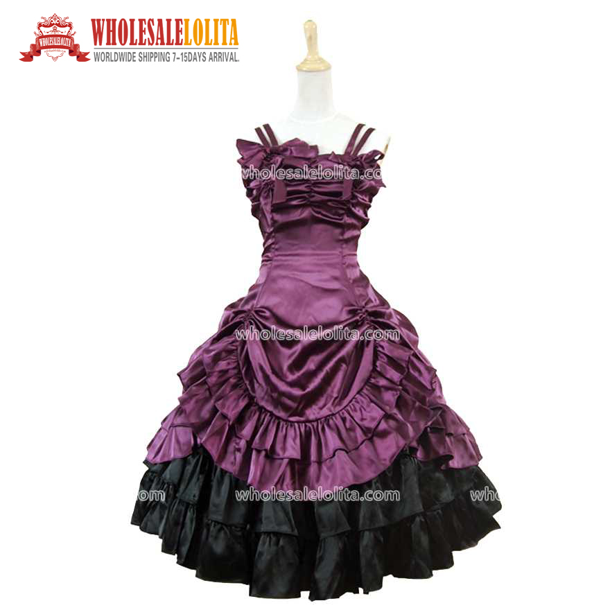 Hot Sale Sweetheart Corset Gothic Purple Wedding Dress: Hot Sale Short Strapless Purple & Black Satin Victorian