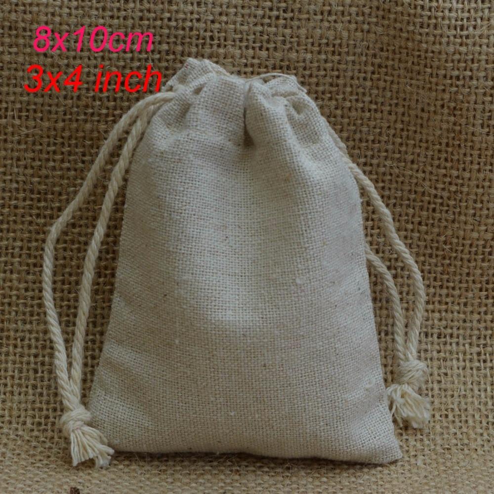 Linen Drawstring Gift Bag 8x10cm (3