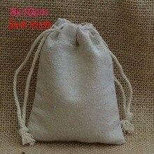 """Pequeño bolso de lino para regalo, 8x10cm (3 """"x 4""""), paquete de 100, puede imprimir logo, bolsas de embalaje de yute para maquillaje y joyería"""