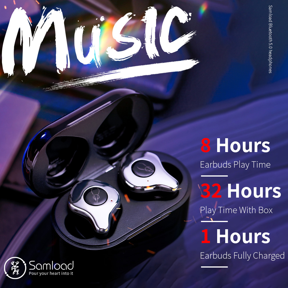Samload true wireless 4 Mic Noise Reduction Stereo Headphones Bluetooth 5.0 Fashion Earphones with wireless charger pad and Box