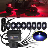 RGB LED Rock Light Kits with Phone App Control & Music Mode & Flashing &Color Grad Multicolor Neon Lights Under Off Road Truck