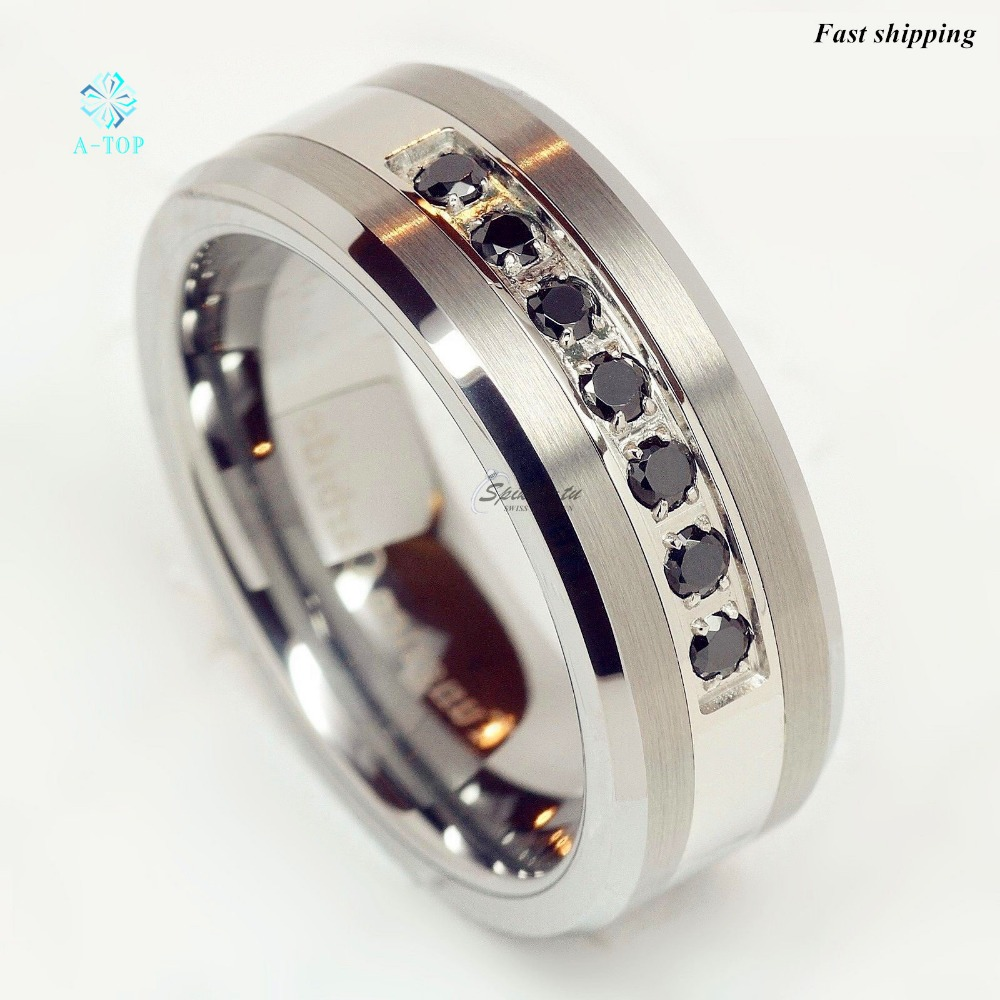 luxury best tungsten ring cz men women wedding band. Black Bedroom Furniture Sets. Home Design Ideas