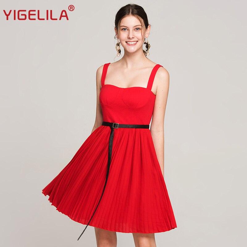 YIGELILA Women Summer Red Pleated Dress Fashion Sexy Spaghetti Strap V-neck Empire Slim Knee Length Backless Party Dress 63608 цена