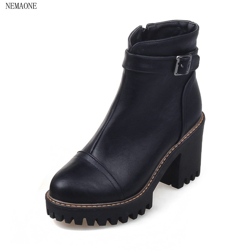 NEMAONE 2018 Women Ankle Boots Pu Leather Square High Heel Round Toe Zipper Sweet Boots All Match Ladies Boots Size 34-43 nemaone 2018 women ankle boots square high heel pointed toe zipper fashion all match spring and autumn ladies boots