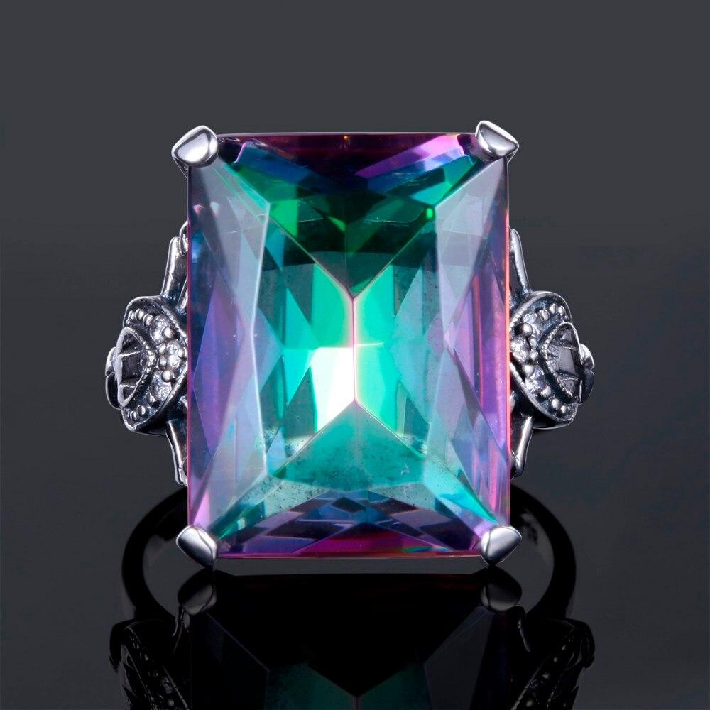 Nouvelle série Rainbow Feu Mystic Topaz Elegant Gem Bijoux Femmes Anneaux Argentés 6-9