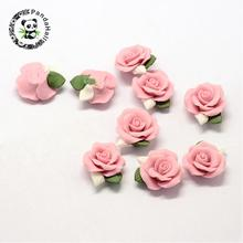 20pcs Handmade Porcelain Cabochons China Clay Beads Flower Pink about 23~25x20.5~21x10~11mm