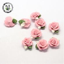 Cabochons en porcelaine faits à la main, perles de porcelaine, fleur rose environ 23 ~ 25x20,5 ~ 21x10 ~ 11mm, 20 pièces