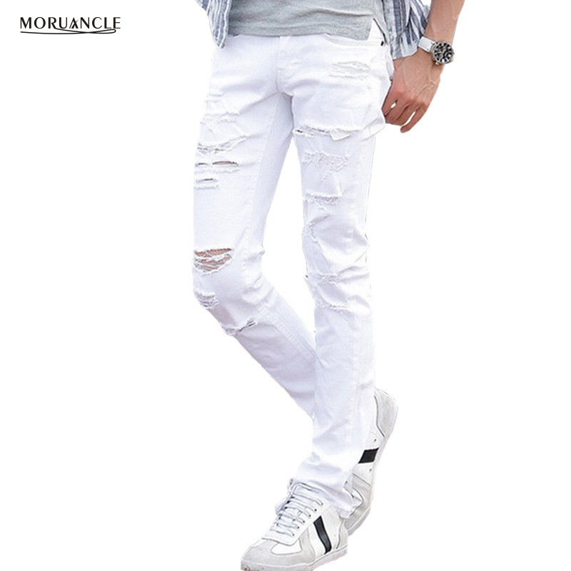 MORUANCLE Mens White Ripped Jeans Pants With Holes Super Skinny Slim Fit Destroyed Distressed Denim Joggers Trousers For Male moruancle fashion mens black plain jeans pants slim fit stretch solid denim joggers brand designer jeans trousers for male e0275