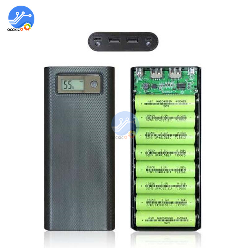 8x18650 Battery Charger Box Power Bank Holder Case Dual USB LCD Digital Display 8*18650 Battery Shell Storage Organize DIY