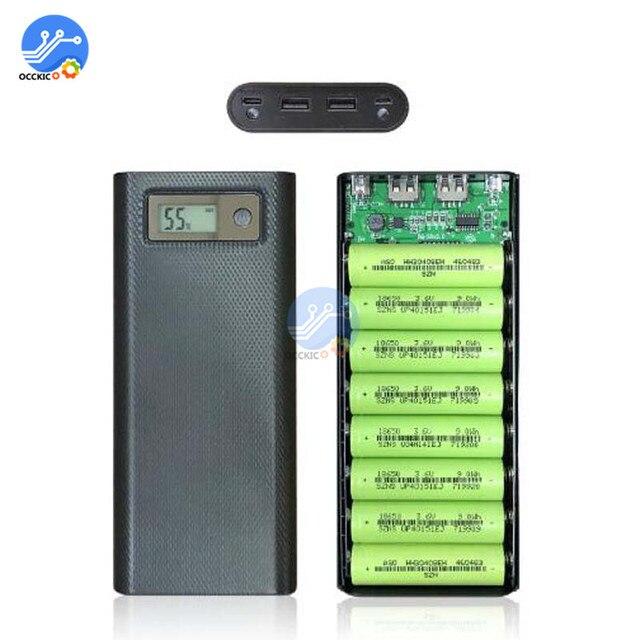 8x18650 Caixa de Banco Do Poder Carregador de Bateria Caso o Titular Dupla USB LCD Display Digital 8*18650 Bateria Casca organizar caixa de armazenamento DIY