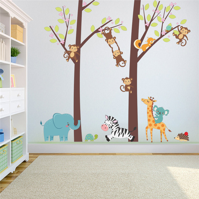 Bella Animali Ramo di Albero Wall Stickers Per Bambini Camera Da ...