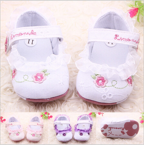 Flower Baby Girl Lace Sko Toddler Prewalker Anti-Slip Sko Baby Soft Sole First Walkers Sko