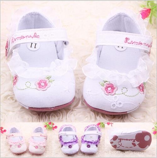 Λουλούδι κορίτσι δαντέλα δαντέλα κορίτσι μωρό Prewalker αντι-slip παπούτσια μωρό μαλακό sole πρώτη Walkers παπούτσια