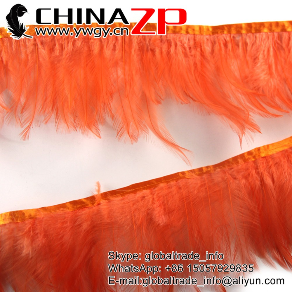 CHINAZP Factory Wholesale and Retail retail Beautiful Dyed Orange Rooster Neck Hackle Feathers Trim