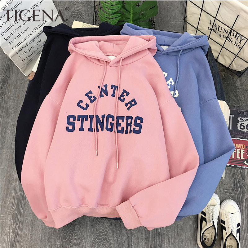 TIGENA Velvet Warm Oversized Hoodies Sweatshirt Women Poleron Winter Kpop Long Sleeve Top Hooded Sweatshirt Female Blue Pink
