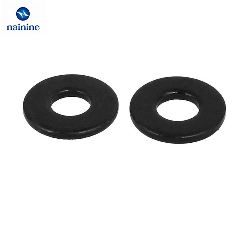 купить 100Pcs DIN125 ISO7089 M2 M2.5 M3 M4 M5 M6 M8 Carbon Steel Flat Machine Washer Plain Black Washer Furniture Gaskets HW088 недорого