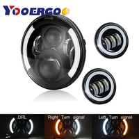 7 Inch Projector LED Headlight + 2 x 4 1/2 Fog Light Passing Lamps For Harley Heritage Softail Classic Motorcycle