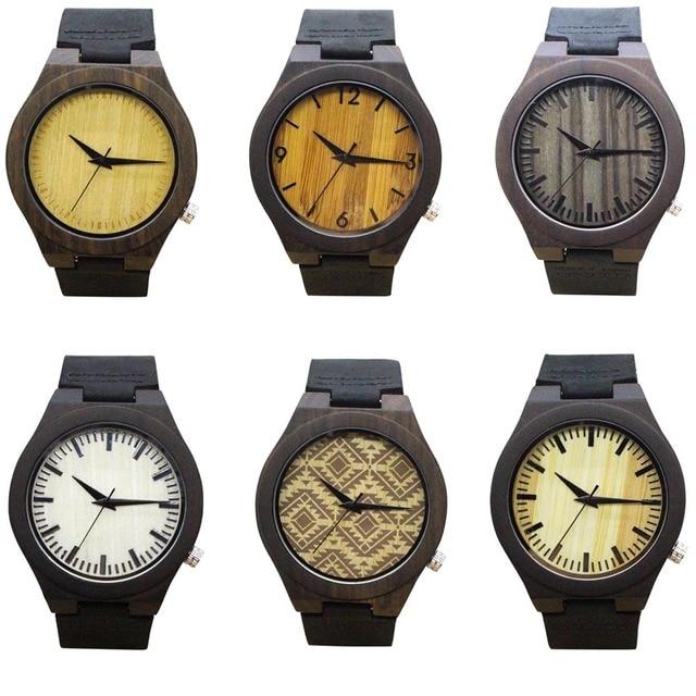 da7f1820b بسيطة الخشب الساعات أزياء الرجال ساعة اليد جلدية حزام ساعة رجل عارضة كوارتز  ساعة ll @