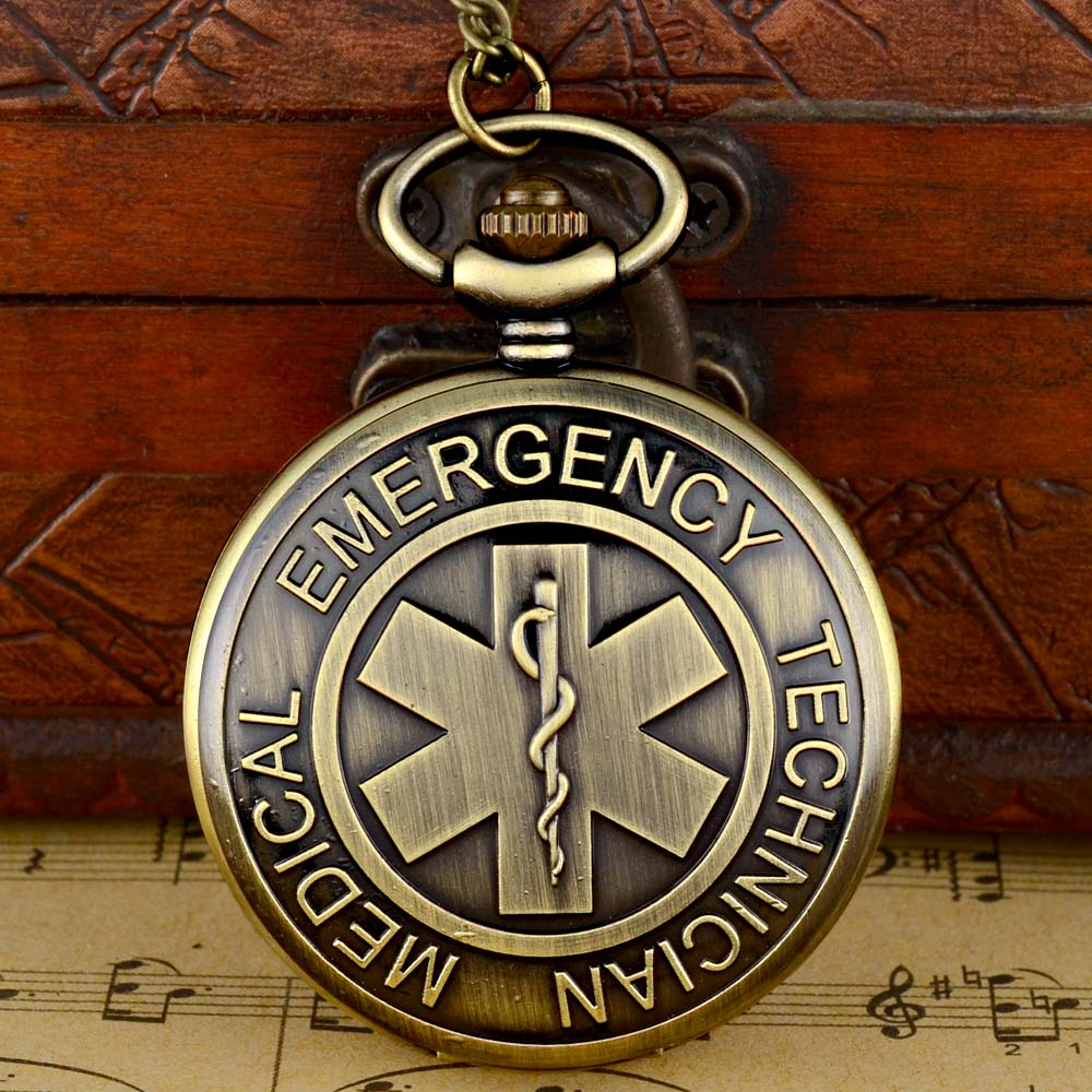 4 Farbe Emt Notfall Medizinische Techniker Rettungssanitäter Abzeichen Stern Des Lebens Feuerwehrmann Quarz Taschenuhr Halskette Anhänger Top Geschenk Uhren